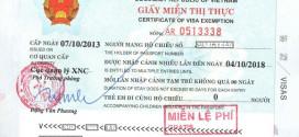 Giấy miễn thị thực 5 năm