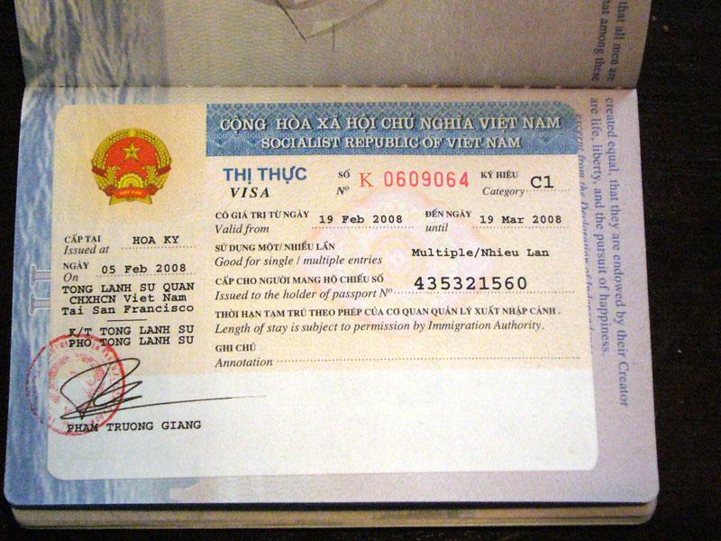 Hình ảnh visa Việt Nam dành cho người nước ngoài